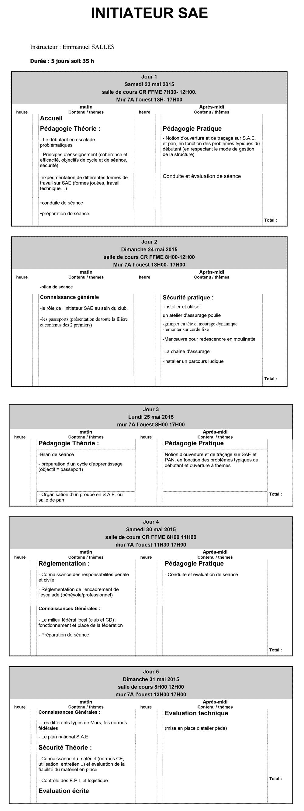 Planning SAE initiateur mai 2015